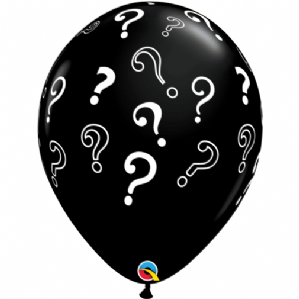 "Gender Reveal Balloons - 16"" Black Question Mark Balloons  